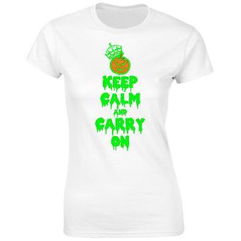 Hålla lugn och bära på glöd i The Dark Halloween Womens T-Shirt 8 färger (8-20) av swagwear