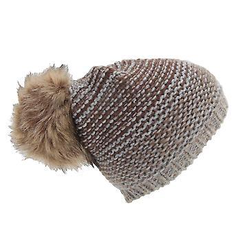 Womens/Ladies Ombre Knit Winter Beanie Hat With Faux Fur Pom Pom
