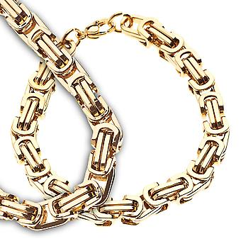 Iced Out Edelstahl BYZANTIN Set - Kette & Armband gold