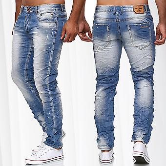 Jeans Pantalons Wrinkle Vintage hommes utilisé Look Denim pantalon Slim Fit Stone Washed