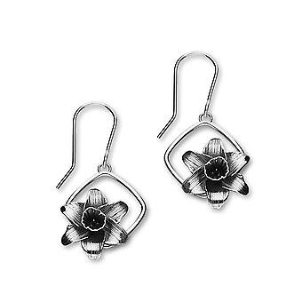 March Sterling Silver Traditional Birth Flower Shaped Design Pair of Earrings