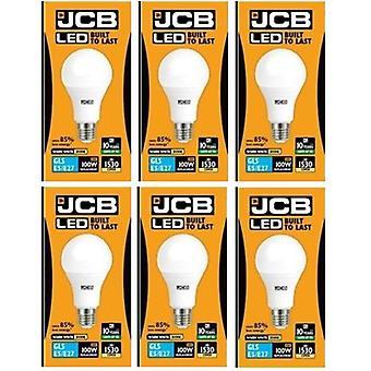 6 X JCB führte 15 Watt Schraubverschluss GLS Warm Weiß 3000K 100W Ersatz ES E27 LED Lampe [Energieeffizienzklasse A +]