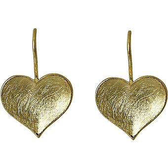 Gemshine - femmes - boucles d'oreilles coeur - 925 argent - plaqué or - 2,5 cm