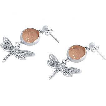 Ladies - orecchini - libellule - argento 925 - DRUZY - quarzo rosa - 4 cm