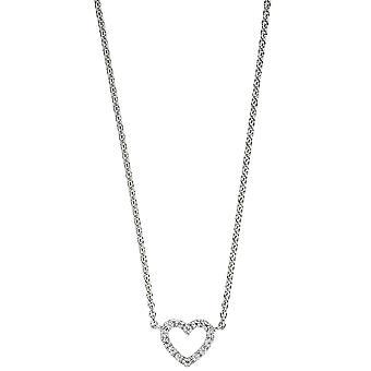 Collier cuore 925 collana argento con zirconi collana 42 cm argento