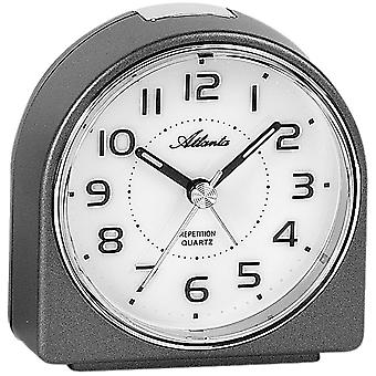 Atlanta 1932/4 Wecker Quarz analog anthrazit leise ohne Ticken mit Licht Snooze