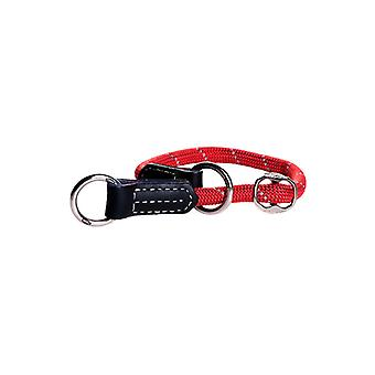 Rogz Rope-Check Durable Leather Soft Dog Collar, Red