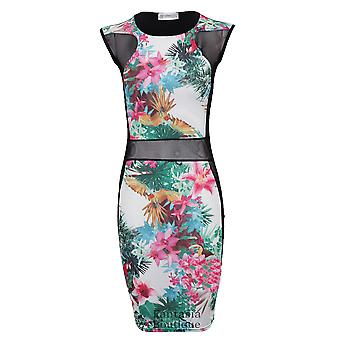 Вставить новые дамы рукавов цветок печати сетки платье Bodycon женщин