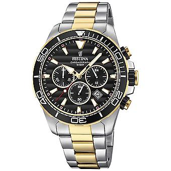 Festina Mens Two-tone Stainless Steel Chronograph Black Dial F20363/3 Watch