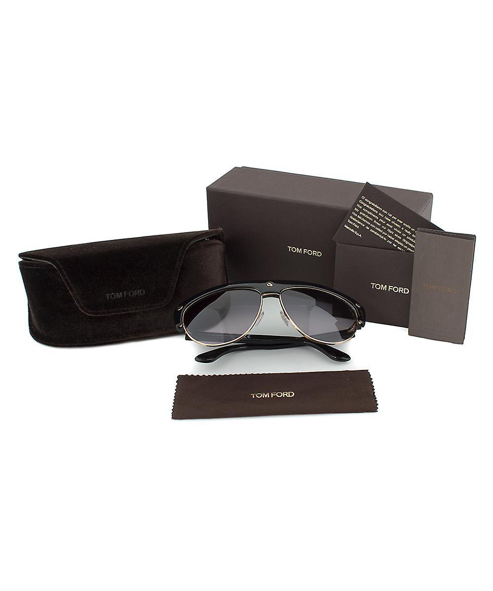 Tom Ford Liane solbriller FT0318 01B | Gull og sort ramme | Grå stigning linsen