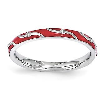 2.5mm 925 Sterling Silver Polished Patterned Stackable Expressions Red Enamel Ring Jewelry Gifts for Women - Ring Size: