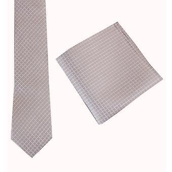 Knightsbridge Neckwear zaškrtávací kravata a kapesní hranatá sada-béžová