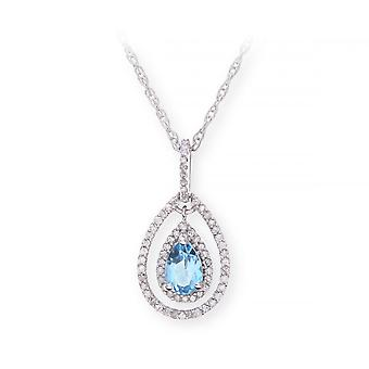 Star Wedding Rings Sterling Silver Necklace With Swiss Blue Topaz Gem Stone Pendant And Diamonds