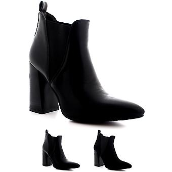 Womens Pointed Toe Cut Out Elastic Block Heel Fashion Black Ankle Boots UK 3-10