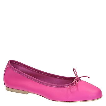 Fuchsia soft leather ballet flats ballerinas shoes