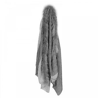 Ombre Faux Fur Trim Grey Wool Scarf