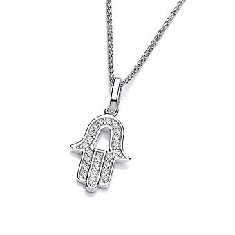 """Cavendish French Silver and CZ Hamsa Pendant with 16-18"""" Silver Chain"""