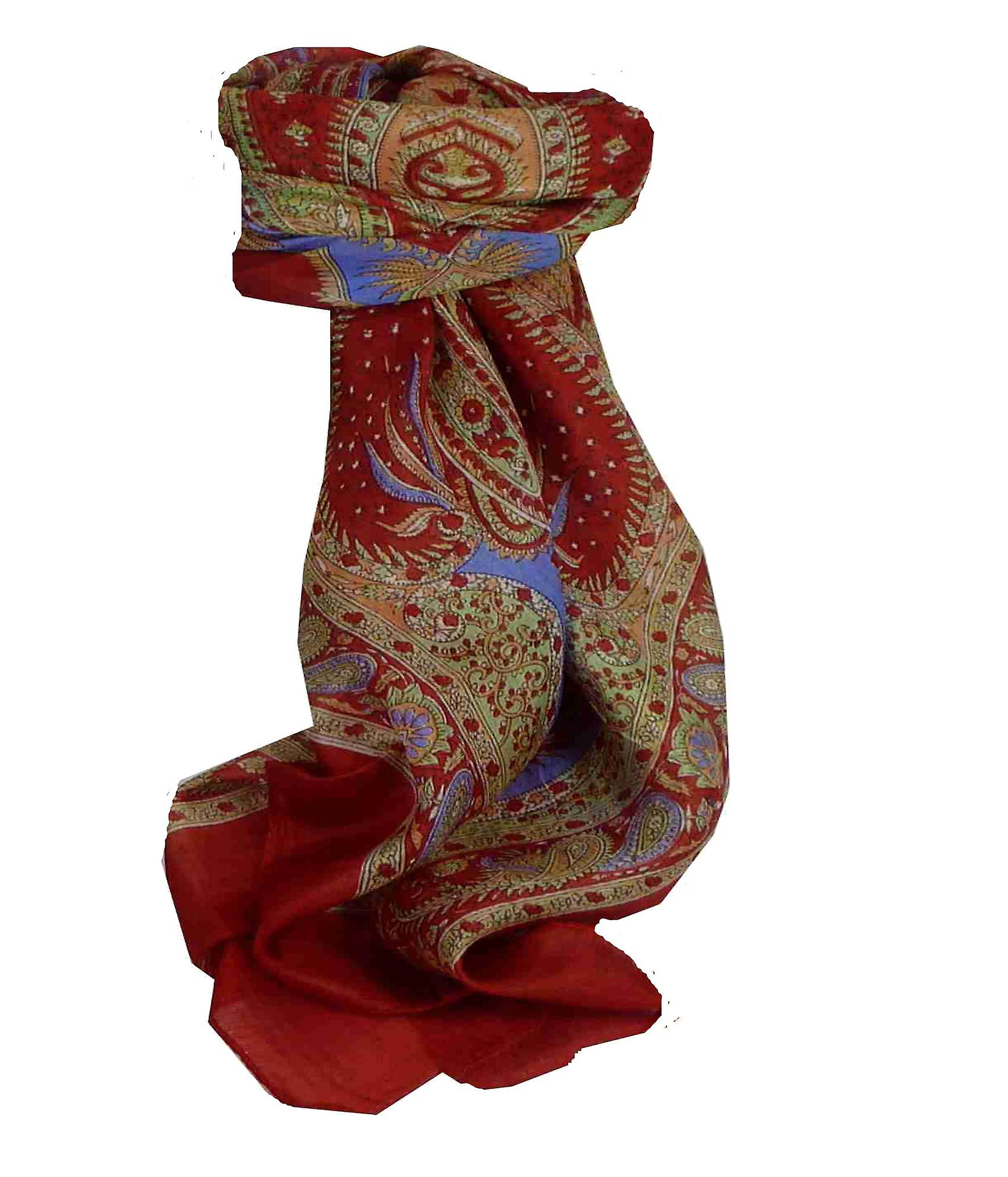 Mulberry Silk Traditional Square Scarf Fulki Red by Pashmina & Silk