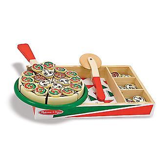 Melissa & Doug Pizza Party trä Play mat Set med 54 pålägg