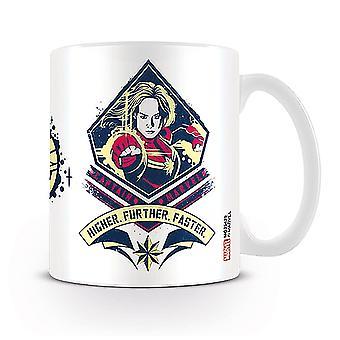 Capitán Marvel taza superior más rápido blanco, impreso, cerámica, capacidad aprox. 320 ml., en caja de regalo.
