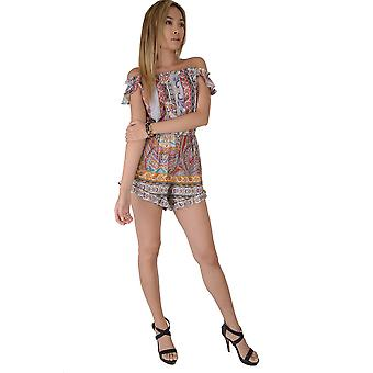 LMS Off The Shoulder Paisley Playsuit With Elasticated Waist