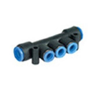SMC 3 Outlet Ports Pbt Pneumatic Manifold Tube-To-Tube Fitting, Push In 4Mm Out