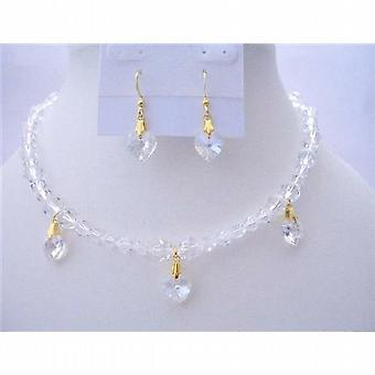 Romantic Jewelry Clear Swarovski Crystals Necklaces Moonlite Heart Set