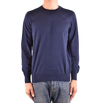 Brunello Cucinelli Ezbc002042 Men's Blue Cotton Sweater
