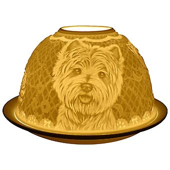 Light-Glow Westie Dogs Lithophane Dome Tealight Candle Holder