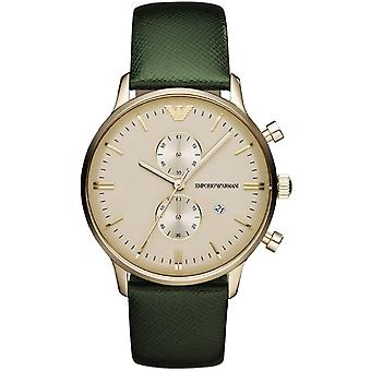 Emporio Armani Ar1722 Gold & Green Textured Leather Mens Watch