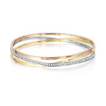 Bracciale bracciale 3 giallo, bianco e rosa per bambini Bracciale, ornato con Cristalli Bianchi Swarovski