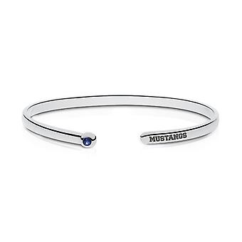 Southern Methodist University Engraved Sterling Silver Sapphire Cuff Bracelet
