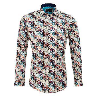 Gids Londen Multi katoen satijn Retro multi cirkel Print heren Shirt
