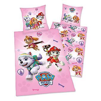 Paw Patrol Pink Single Dekbed Cover en pillowcase set - Europese maat
