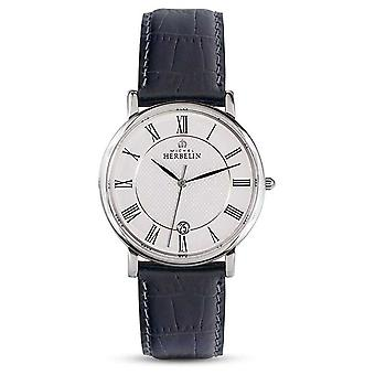 Michel Herbelin Mens Classic Black Leather Strap White Dial 12248/08 Watch