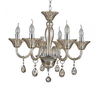 Premier Home Murano 6 Glühbirne Cognac Kristall Kronleuchter, Chrom, Glas, Eisen, K9 Kristall
