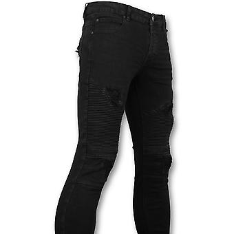 Zwarte Biker Jeans - Skinny Jeans Voor - 3010-2