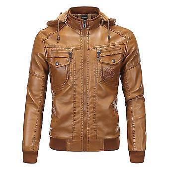 Allthemen Men's Leather Coat Thickened Autumn Detachable Cap Leather Jacket