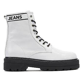 تومي جينز Flatform النساء الأبيض براءات الاختراع أحذية جلدية