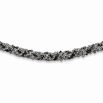 925 Sterling Silver Ruthenium plated Twisted Necklace 18 Inch Jewelry Gifts for Women - 15.0 Grams