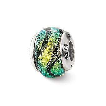 925 Sterling Silver Reflections Green Dichroic Glass Bead Charm Colgante Collar regalos de joyería para mujeres