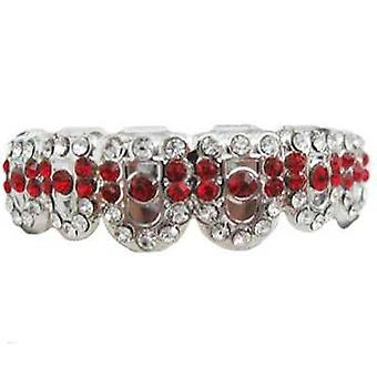 Grillz Silver Gatekeeper Iced Out Clear And Ruby Cz Diamonds [top]