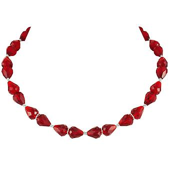 Eternal Collection Sophistication Ruby Red Crystal Silver Tone Necklace