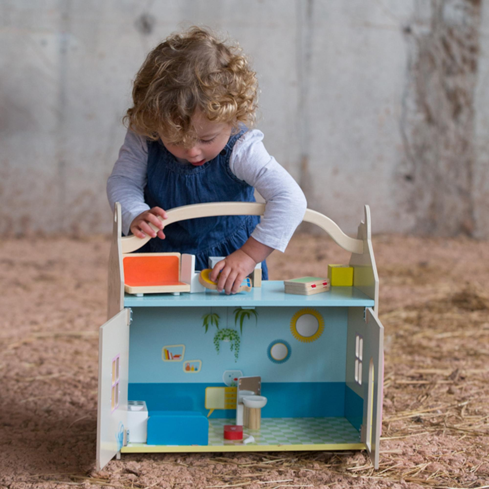 Classic World - Wooden Modern Dream House, Doll's House with Furniture, Figurines and Garden