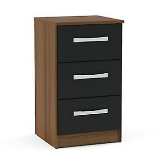 Lynx 3 Drawer Bedside - Walnut & Black