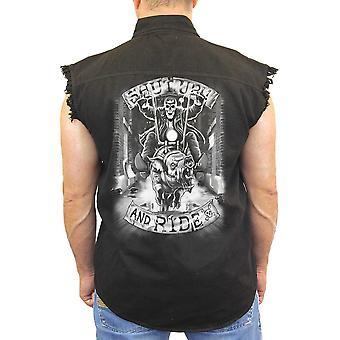 Мужская рукавов Джинсовая рубашка белая заткнись & ездить байкер