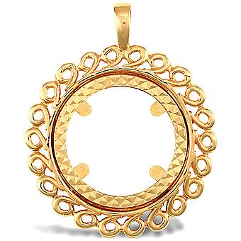 Jewelco London Solid 9ct Yellow Gold Loop Spiral Frame Full Sovereign Coin Mount Pendant