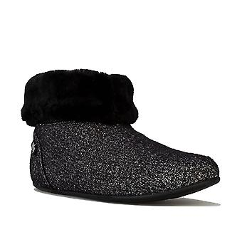 Womens Fitflop Sarah Shearling Glimmer Bootie Slippers In Black