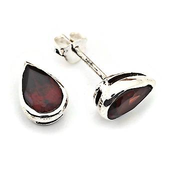 Boucles d'oreilles Argent 925 Argent argent massif Granat rouge pierre (No : MOS 076-52)