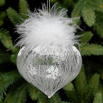 8cm Klarglas Schneeflocke & Feder Zwiebel Weihnachtsbaum Bauble